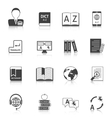 Translation and dictionary icons set vector image vector image