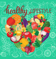 vegetarian food collection and quotes healthy vector image vector image