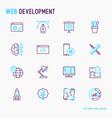 web development thin line icons set