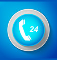 white telephone 24 hours support icon isolated vector image vector image