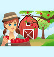 woman carrying a basket of fruit vector image