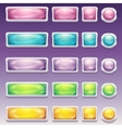 Big set of buttons in glamorous white frame vector image