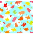 Falling leaves across the blue sky eamless pattern vector image