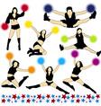 Cheerleaders Silhouettes Set vector image