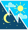Day and night contrast concept with sun vector image