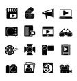Silhouette Movie and cinema icons vector image