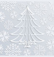 white paper christmas tree with snowflakes vector image
