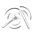 abstract image or logo with a cut plate knife and vector image vector image