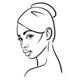 african woman face portrait cartoon black vector image