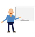 bald successful man stands near the blackboard vector image vector image
