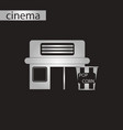 black and white style icon building cinema popcorn vector image vector image