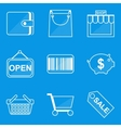 Blueprint icon set Shop vector image
