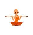 buddhist monk cartoon character sitting in lotus vector image vector image