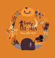 cartoon wreath with halloween elements vector image