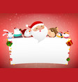 christmas snowman santa claus and animal cartoon vector image vector image