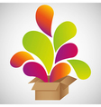 Color drops out of cardboard boxes vector image