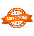 copyrighted ribbon copyrighted round orange sign vector image vector image