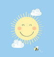 cute smiling sun little bee and clouds vector image