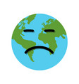 earth globe sad emotion vector image vector image