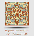 faience pottery tile in beige olive green and red vector image vector image