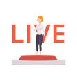 female broadcaster news reporting live vector image vector image
