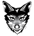 fox head tattoo brand black isolated on white vector image vector image