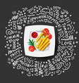 french fries icon on white plate with tomatoes vector image vector image