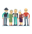 group of old people cartoon characters happy vector image