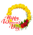 happy womens day text greeting card yellow mimosa vector image