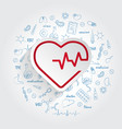 heartbeat line cardiogram icon and handdrawn vector image