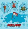 holland flat concept icons vector image