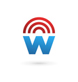 Letter W wireless logo icon design template vector image