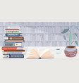 library background pile books open vector image
