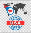 made in usa america stamp world map with red vector image vector image