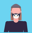 man wearing protective mask with penguin face smog vector image