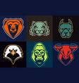 mascot animals set vector image