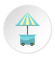 mobile cart with blue umbrella icon circle vector image vector image