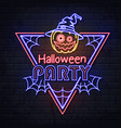 neon sign halloween party with jack-o-lantern vector image vector image