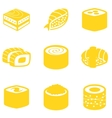 Orange sushi icon set vector image