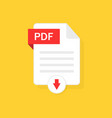 pdf download icon file with button vector image vector image