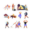 people active lifestyle set male and female vector image