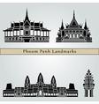 Phnom Penh landmarks and monuments vector image