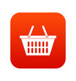 plastic shopping basket icon digital red vector image
