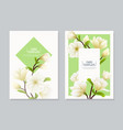 realistic magnolia flower banner set vector image vector image
