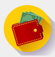 red wallet icon flat style wallet vector image vector image