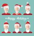 santa clauses app icons set in flat style vector image