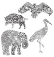 set animals with ethnic ornaments vector image vector image
