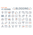set flat line icons blogging vector image vector image
