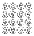Set icons of men and women in a flat linear style vector image