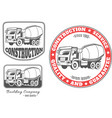 set of logos with concrete mixer truck vector image vector image